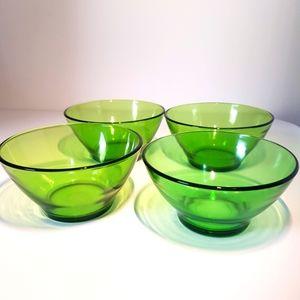 Vintage Vereco France Green bowl dishes x 4